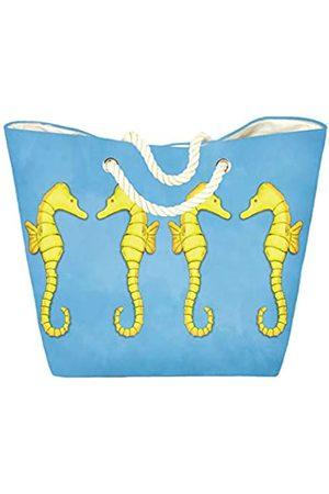 Beachcomber Blue Water Damen Handtaschen - Seepferdchen-Tragetasche   Magnetverschluss   Innentasche   Orange und Gelb Seepferdchen
