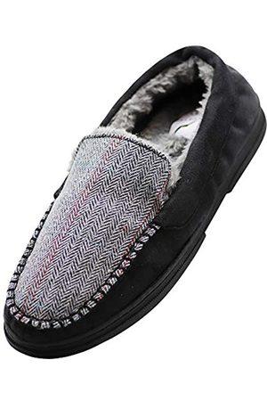 NORTY Mokassin-Hausschuhe für Herren – Microsuede oder Twill – Memory Foam – extra warm, (Schwarzes Fischgrätenmuster)