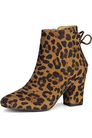Allegra K Damen Runde Zehen Blockabsatz Reißverschluss Schnürstiefeletten, (leopard)