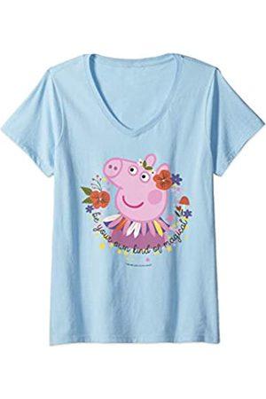 Peppa Pig Damen T-Shirts, Polos & Longsleeves - Damen Magical Portrait T-Shirt mit V-Ausschnitt