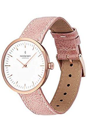 nordgreen Infinity skandinavische Damenuhr in Roségold mit weißem Ziffernblatt und austauschbarem 32mm Leder Armband Pink 10070