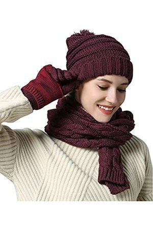 Chloria Damen warmer schal handschuh hut beanie - kabel knitwinter geschenkset pom cap touch-screen-handschuh langer schal 3 pcs set E