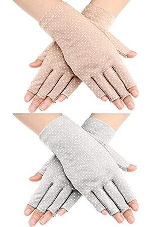 Maxdot 2 Paar Sunblock fingerlose Handschuhe Rutschfest UV-Schutz Fahren Handschuhe Sommer Outdoor Handschuhe für Frauen und Mädchen ( und Khaki)