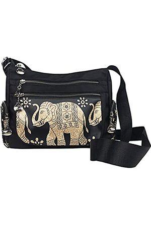 Wonshree Multi-Taschen, Boho-Elefant, für Damen und Herren, Unisex, Bohemian-Stil, Reisetasche, (Black Elephant B)