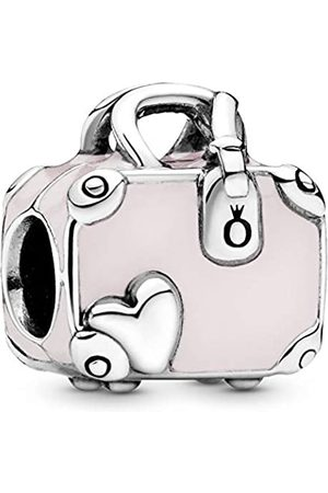 PANDORA Suitcase silver charm with pink enamel