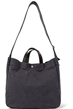 Jeelow Strapazierfähige Canvas-Reisetasche, Handtasche, Schultertasche, Crossbody-Taschen für Damen und Herren, Ledergriff und Riemen, Schwarz