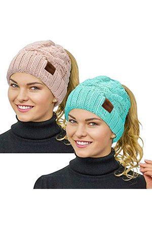 Rosoz Pferdeschwanz-Mütze für Damen, Wintermütze, warm, weich, dehnbar
