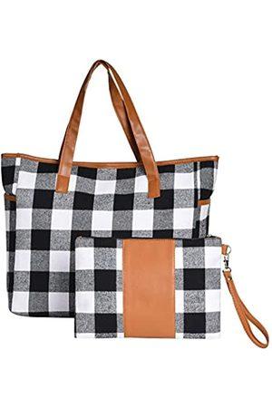 HH Buffalo Karierte Tragetasche und Geldbörse, Set, personalisierbar, Reise-Schultertasche, Handtasche für Frauen und Mädchen