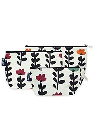 AQVA 3 Stück bedruckte umweltfreundliche Baumwoll-Leinen-Tasche, Kosmetiktasche, kleine Make-up-Tasche, multifunktionale Strand-Reise-Kosmetiktasche, Münzbörse