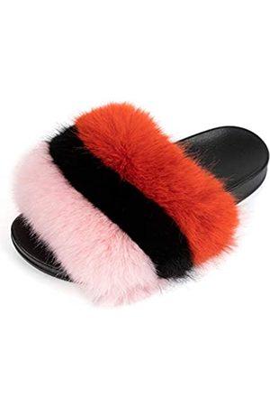 FUNKYMONKEY Damen Slides Faux Pelz Süße Flauschige Hausschuhe Komfort Flache Sandalen, (Dm-ps/Pink/ / )