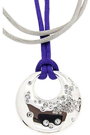 Jean Pierre Damen-Kette mit Anhänger Messing rhodiniert Stoff Glas weiß Rundschliff - HEJNL6271 RH GV