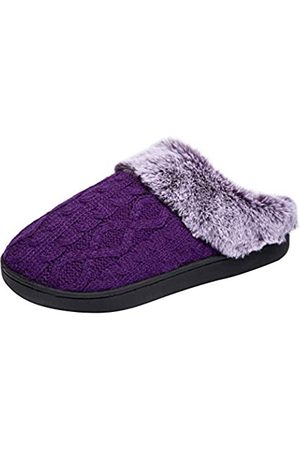 WOTTE Women's Cable Knit Slippers Faux Fur Lining Furry Collar Memory Foam Clog shoes Size 12-13