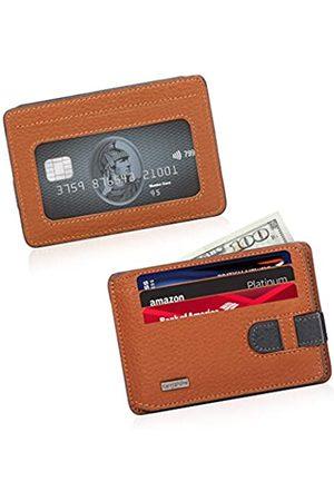 CengizPakel Genuine Leather Wallets for Men Slim Mens Wallet - Practical Locking (Tan-Navy Blue