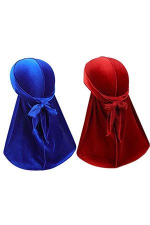 Heywhose Velvet Men Durag - Premium Durag Cap Headwraps (2PCS) mit extra langem Schwanz und breiten Riemen für 360 Wellen - - Einheitsgröße