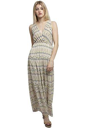 Apart APART langes Damen Kleid, Sommerkleid, crème-Multicolor, Tiefe V-Ausschnitte, hoch angesetzte Taille, Wickeloptik