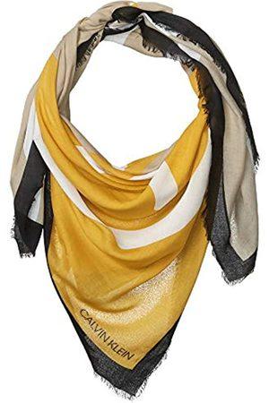 Calvin Klein Damen Schals - Damen Abstract CK Logo Colorblock Yellow and Grey 100% Rayon Scarf Pashminaschal