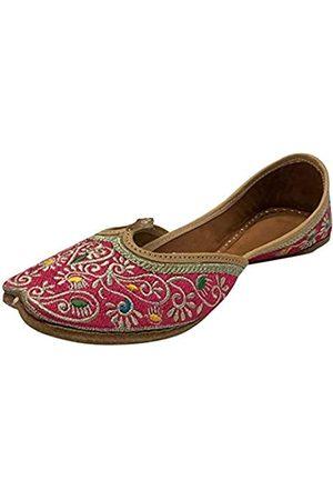 Step N Style Damen-Schuhe Phulkari Punjabi Jutti Khussa Ethnische Mojari Indische Jooti, Pink (rose)