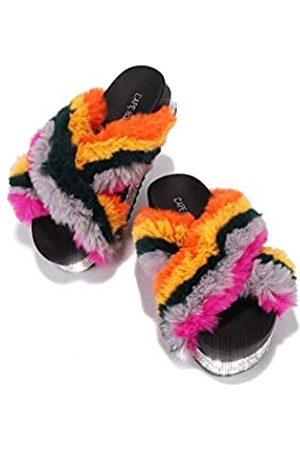 Cape Robbin Spotty Furry Faux Fur Slides Slippers, Plateau Riemchensandalen Strass für Frauen, Schwarz (regenbogenfarben)