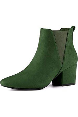 Allegra K Damen Pointed Toe Blockabsatz Slip On Chelsea Ankle Boots Stiefel 40