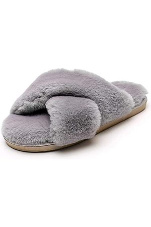 Real Fancy Fuzzy Slide Hausschuhe für Frauen – Crossover Open Toe Memory Foam flauschiges Kunstfell Hausschuh Indoor Outdoor