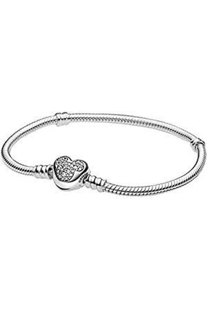 PANDORA Damen Armbänder - Moments Disney Micky Maus Schlangen-Gliederarmband mit Herzverschluss aus Sterling / Größe: 21cm
