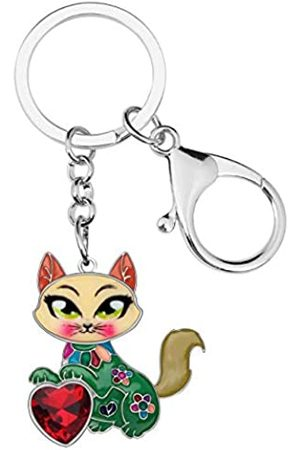 BONSNY Schlüsselanhänger, Emaille, Metall, Herz mit Strasssteinen, für Frauen, Kinder, Auto, Geldbörse, Tasche, Ringe, Charm