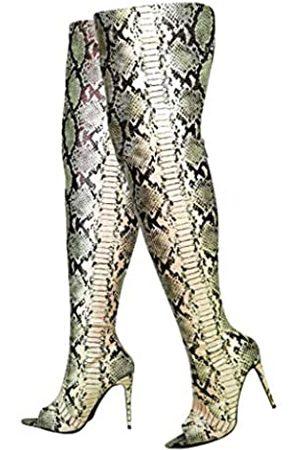 Cape Robbin Toxic Faux Snake Oberschenkel Hohe Overknee Stiefel Peep Toe Stiletto Absatz Mode Kleid Stiefel für Frauen, Braun (nude)