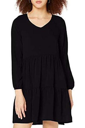 Authentic Style Damen Freizeitkleider - Damen V-Ausschnitt mit Druck Formales Kleid, Black