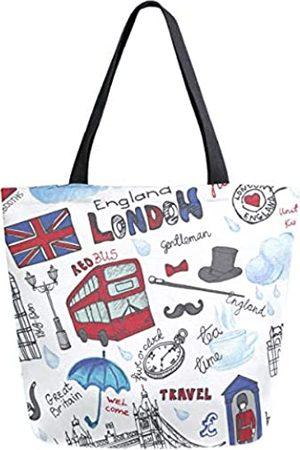 ZzWwR Stilvolle Schultertasche mit Londoner Landmark England Vntage Icons groß Canvas Schultertasche Top Griff Tasche für Fitnessstudio, Strand, Reisen