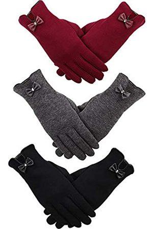 Patelai 3 Paar Damen Winterhandschuhe Warme Touchscreen Handschuhe Winddichte Handschuhe für Damen Mädchen Winter Verwendung (