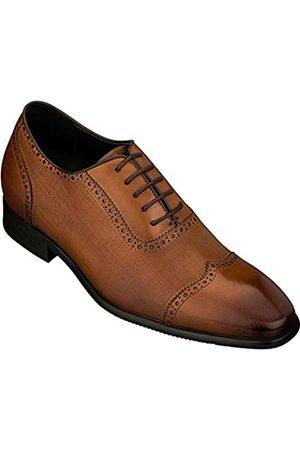 CALTO Y1066 Herren-Schuhe, unsichtbar, höhenverstellbar, Leder, Schnürung, Flügelspitze, formelle Oxfords, 6