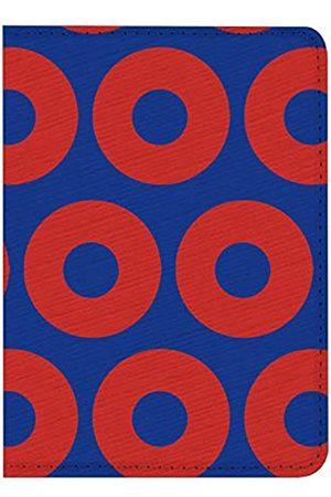 LANEABUY Reisepasshülle mit rotem Donut-Motiv und Kreisen auf blauem RFID-Leder