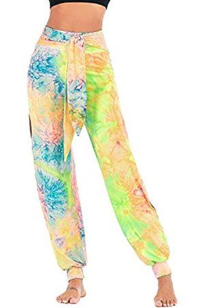 Weigkous Haremshose für Damen, hohe Taille, lockere Passform, seitliche Schlitze, Batikdruck, Hippie-Hose