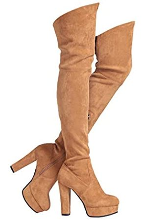 Shoe'N Tale Women Stretch Suede Chunky Heel Thigh High Over The Knee Boots(8
