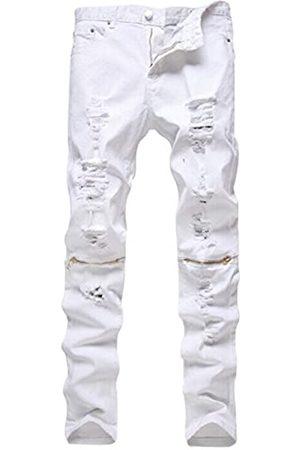 NORAME Herren Slim Fit Bleistifthose Vintage Reißverschluss Denim Distressed Stretch Ripped Jeans - Weiß - 52