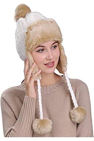 Ambientehome Home Prefer Damen Mädchen Mütze mit Ohrenklappe, Kunstfell, Strick, Warm