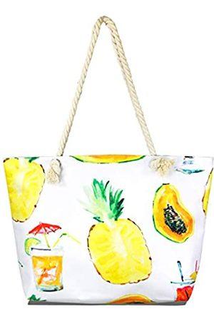 MIRMARU Damen Sommer Große Strand Top Griffe Tote Bag - Canvas Reise Schulter Handtaschen mit Reißverschluss oben, Weiá (Summer Fruits - )