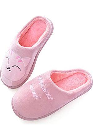 YinZhen Qin Unisex Winter Warme geschlossene Zehen Indoor Hausschuhe für Damen/Herren, niedliches Katzenmuster Hausschuh Slider für Paare, Pink (A-Pink)