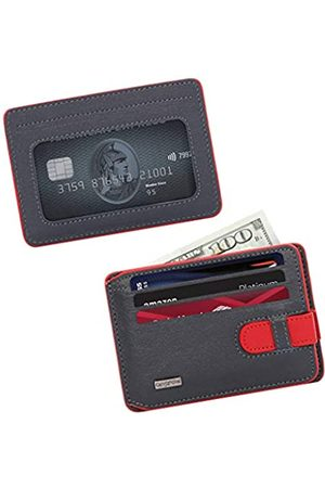 CengizPakel Wallets for Men- Genuine Leather Slim Mens Wallet with Practical Locking Mechanism- Minimalist Front Pocket Card Holder (Navy Blue-Red