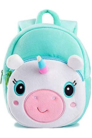 KK CRAFTS Cute Kids Toddler Backpack Plush Toy Animal Cartoon Children Bag for 2~5 Years Baby (Green Unicorn)