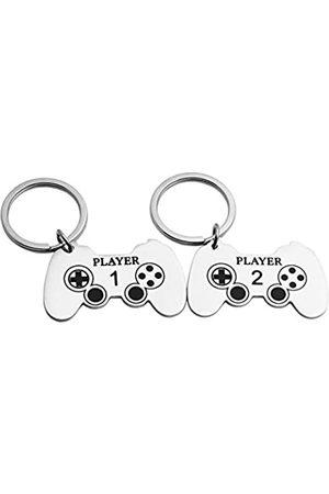 JINGMARUO Gamer Paar-Schlüsselanhänger Geschenk Spieler 1 Spieler 2 Schlüsselanhänger Set für Sie und Ihn Valentinstagsgeschenk Spiel Liebhaber Paare Geschenk