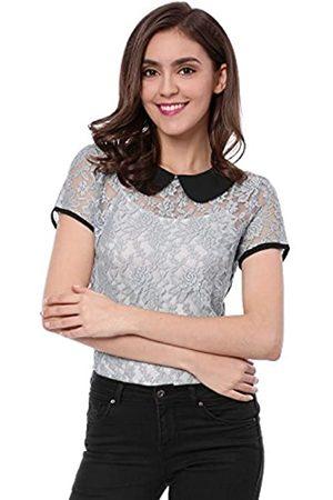 Allegra K Damen Kurzarm Bubikragen Panel Durchsichtig Spitze Top Bluse S