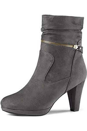 Allegra K Damen Wildleder Westernabsatz Reißverschluss High Heels Plateau Boots Stiefel 41