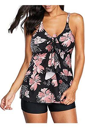 Zando Damen Zweiteilige Badeanzüge Floral Tankini Top mit Boyshort Badeanzüge bescheidene Tankini Badeanzüge für Frauen - - 40-42