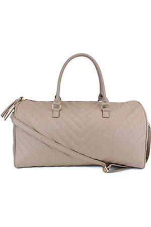 Ms Lovely Damen-Reisetasche aus Leder mit Zickzack-Muster, groß, mit goldfarbenen Beschlägen und Satin-Innenfutter, 55