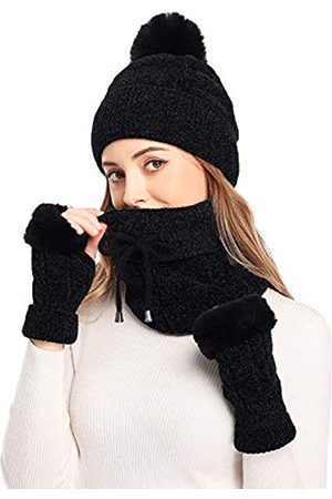 Bienvenu 3 Stück Strickmütze Set Winter Dicke Warme Strickmütze + Schal + Touchscreen Handschuhe - Schwarz - Einheitsgröße