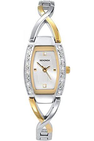 Sekonda Damen-Armbanduhr, analog, Quarz, silberfarbenes Zifferblatt und mehrfarbiger Armreif