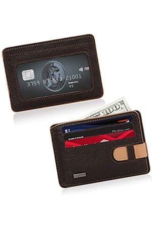 CengizPakel Wallets for Men- Genuine Leather Slim Mens Wallet with Practical Locking Mechanism- Minimalist Front Pocket Card Holder (Brown-Soil