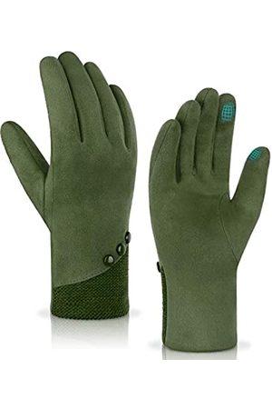 Achiou Winter Touchscreen Handschuhe Weich Bequem Frauen Thermo Elastisch Stretch Texting für Party Reisen Laufen - Gr�n - Large
