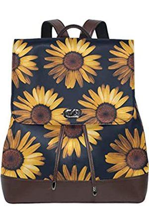 FengYe Retro Damen Rucksack aus echtem Leder mit Sonnenblumenblick (Mehrfarbig) 005